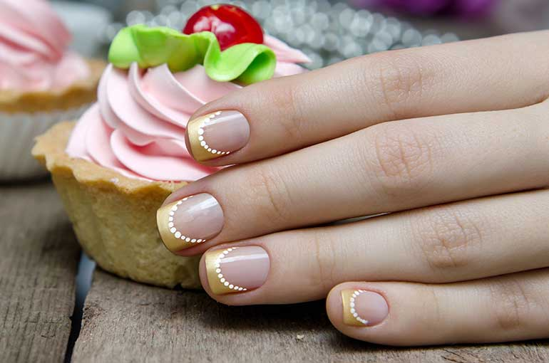 Golden French Manicure