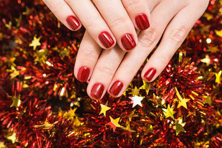 Red Festive Nail Art